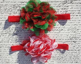 Christmas Colored Headband. Red and Green Headband / Red and White Headband