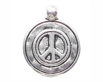 8 Hammered Silver Peace Sign Charm 20x16mm by TIJC SP0595
