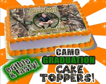 2015 Graduation or Birthday Camouflage Cake toppers cupcakes, edible sugar sheets Camo real tree mossy oak pattern decal sticker picture