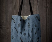 Woodland tote bag pine green, pine cones, needles, branches on teal hemp & organic cotton canvas, screen printed carryall, eco friendly fall
