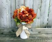 Burlap Wedding Decor / Personalized Wedding Centerpiece / Rustic Wedding Lighting / Wedding Candle Holder / Wedding Table Number / 6