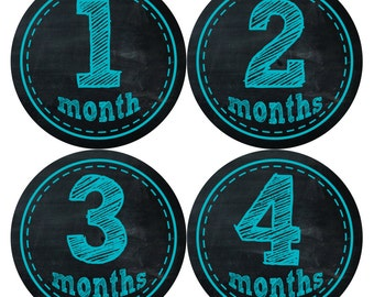 Monthly Baby Milestone Stickers Baby Boy Baby Shower Gift One-Piece Baby Stickers Monthly Baby Stickers Baby Month Stickers  145