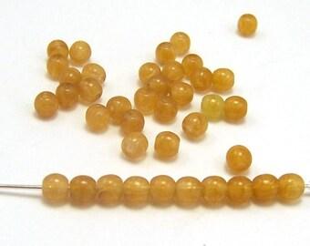 Butterscotch Swirl 4mm  Round Czech Glass  Beads 10g  #524