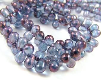 Luster Trans Amethyst Tear Drop 4x6mm Czech Glass Beads 50pc #1967