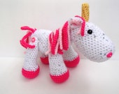 Ready to Ship! Hot Pink Sparkly Unicorn Crochet Plush with Sequins, Movable legs