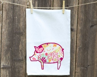 Pig Kitchen Towel, Pig FloPig Kitchen Towel,Pig Towel, Pig Flour Sack Towel, Custom Personalized Towel, Funny Towel, Paisley Pig Towel