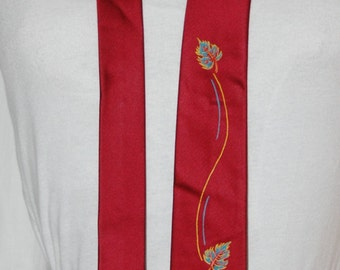 vintage 60s skinny tie, hand painted tie, deep cranberry, painted falling leaves