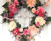 Summer, Spring Front Door Decorator Wreath with Removable Elegant White Cross, Pink Bird, Elegant Pink and White Flowers