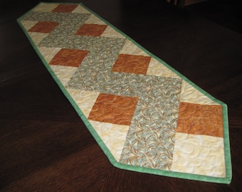 Sale--Zigzag Quilted Table Runner - Brown and Green Earthtones