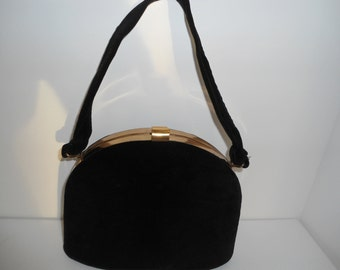 Vintage Black Velvet Evening Bag with Gold Tone  Hardware