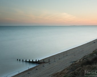 A calm sunset over the coast of Milford on Sea - Landscape photography - mounted print photograph 12 x 9