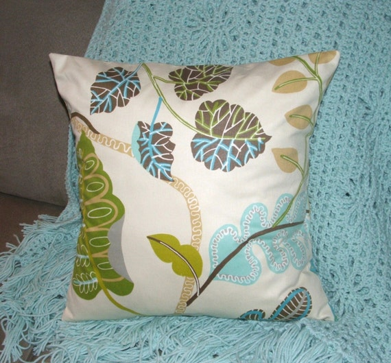 Aqua Brown Decorative Pillows : Turquoise and Brown Decorative Pillow by PearBlossomCreations