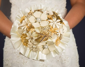 Custom Made Vintage Ivory & Gold Brooch Bouquet
