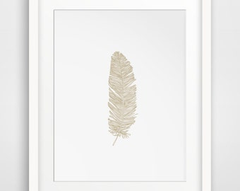 Beige Feather Print, Brown Feather Art, Printable Feather Art, Downloadable Feather Print, Beige Bohemian Feather Print, Beige Wall Print