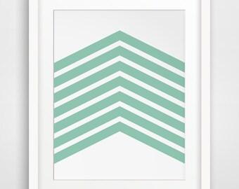 Mint Chevron, Mint Geometric, Green Arrow Art, Mint Printable, Mint Green Chevron, Mint Wall Art, White and Green, Mint Home Decor