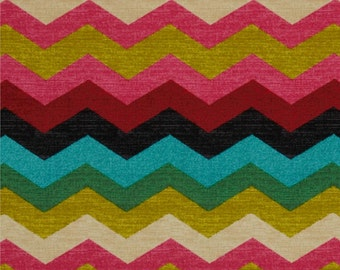 SALE - Multi Color Chevron Fabric - Waverly Panama Wave Desert Flower - 676112 - Fabric by the 1/2 yard - Zig zag