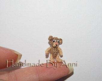 Micro Bear - Dollhouse Miniature Bear, Tiny little teddy bear Ooak bear artist bear small Collectible bear dollhouse mini bear toy gift idea