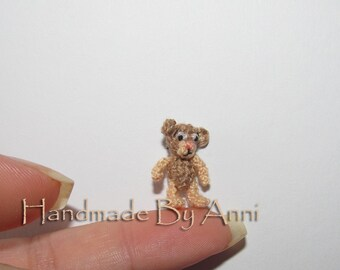 Miniature bear dollhouse bear tiny little teddy bear handmade bear artist bear small bear dollhouse toy mini bear