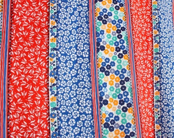 V I N T A G E hippie bohemian stripe floral cotton fabric 3 1/2 yards