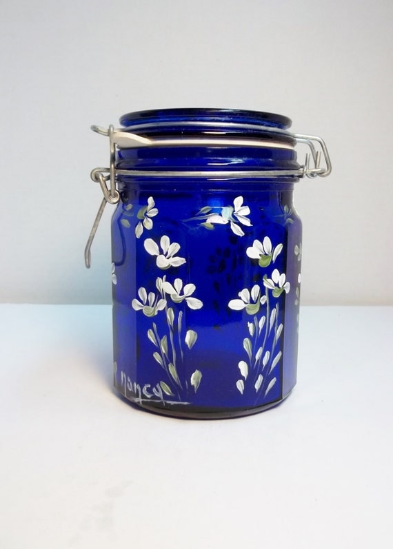 Blue glass kitchen canister vintage glass food storage - Blue glass kitchen canisters ...
