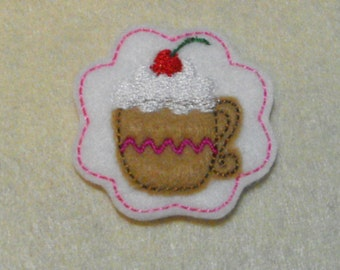 Mugs Hot Chocolate Cocoa felties, feltie, machine embroidered, felt applique, hair bow center, felt embellishment, hair bow supplies