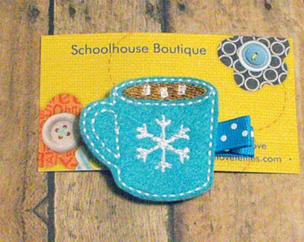 Turquoise Cup of Hot Cocoa Felt Hair Clips - Feltie Hair Clip - felt hair bow - felt hair clip - party favor