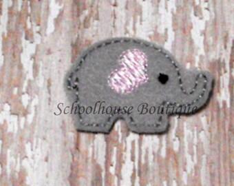 Gray & Baby Pink Elephant felties, feltie, Machine embroidered, felt applique, felt embellishment, hairbow center