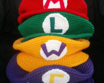 Mario and friends crochet hat - Adult size