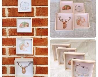 Set of 4 framed Woodland Animal Illustrations