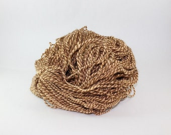 Romney, Llama Handspun wool - Wool Yarn, Eco Friendly, Peach, Barber pole, Worsted Weight,  2ply, natural color
