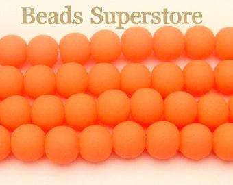 SALE CLOSEOUT 8 mm Fluorescent Neon Orange Glass Round Bead - 30 pcs