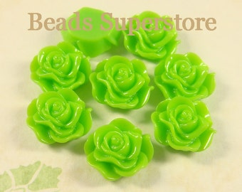 SALE CLOSEOUT 12 mm Green Flat Back Resin Cabochon - 10 pcs
