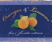 A lovely shabby chic downloadable image of oranges and lemons