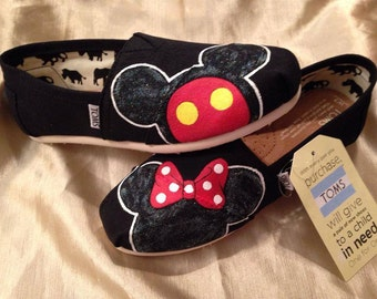 TOMS Mickey and Minnie Inspired hand painted shoes
