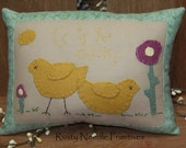 Hand Appliqued Wool Felt Easter Chicks Pillow