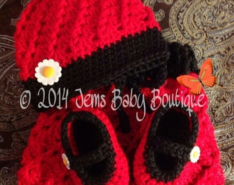 Elegant Newborn Red & Black Girl Crochet set, skirt, beanie and Mary Janes, Made to Order, Photo prop
