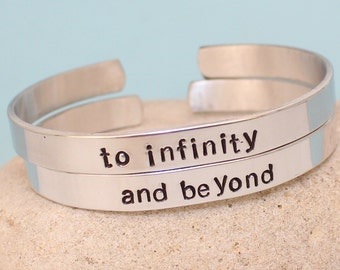 To Infinity and Beyond Bracelets -  Personalized - Hand Stamped -  Couple Bracelets