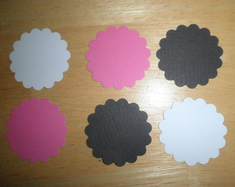 """2"""" Scallop Circle Die Cuts set of 50  Pink, Black and White- perfect for scrapbooking, cards, showers, embellishments"""