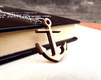 Wood anchor necklace, Wood necklace, Ancor necklace, Anchor jewelry, Eco necklace, Eco friendly, Laser cut machine