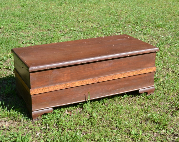 Vintage Wooden Blanket Chest Primitive Handmade Vintage Storage PanchosPorch