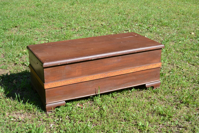 Vintage wooden blanket chest primitive handmade