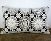 11417 Pillow cover. Cream lace on navy fabric. Navy fabric on back. Cream vintage buttons.