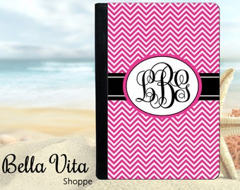 Personalized iPad Case, Personalized iPad Cover, Personalized iPad Mini Case, iPad 2, 3, 4, Mini, Chevron Chevrons Hot Pink Monogram