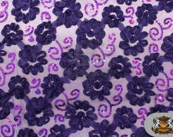 """Mesh Floral Chiffon Sequin Fabric PURPLE / 52"""" Wide / Sold by the yard"""