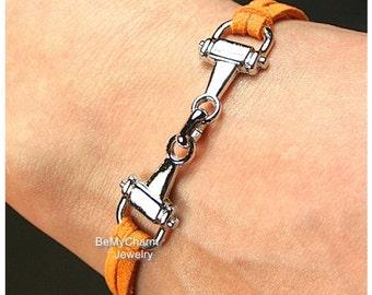 Equestrian Bracelet, Horse Bracelet, Silver Snaffle Bracelet, Faux Suede Leather Cord Bracelet, Gift For Her, Charm Bracelet, Under 10 - 755