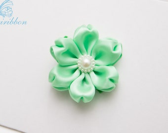 mint green hair clip - flower hair bow - you choose color 109