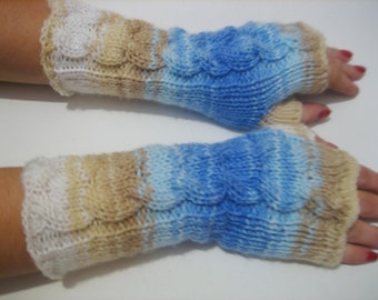 Knitted Fingerless Half Gloves with Cable, Woman, Handmade,Brown,White,Blue ,Winter Half Gloves