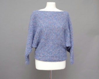 80's Batwing Blue/Lilac Hand Knit Wool Jumper Small Size