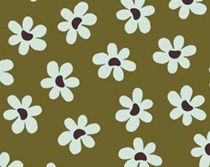 One Yard Sun-Kissed - Daisies in Olive - Cotton Quilt Fabric - designed by Michele D'Amore for Benartex Fabrics (W1521)