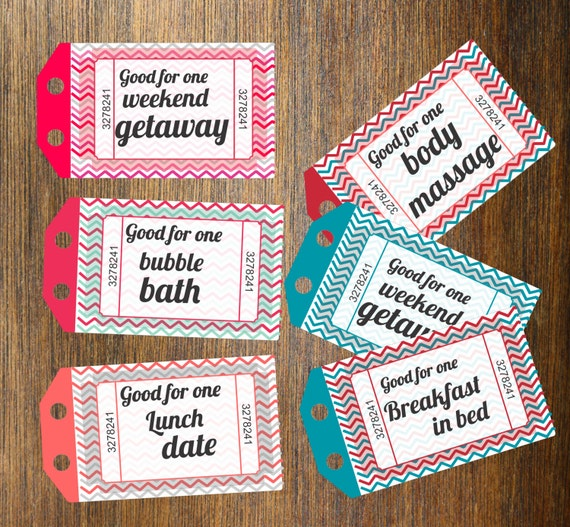 INSTANT DOWNLOAD Printable Love Coupons Gift For By Dasqmobi